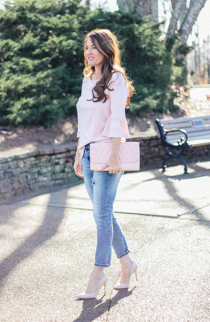 How to wear a bell sleeve top for spring via Peaches In A Pod blog. The perfect spring outfit idea for women.