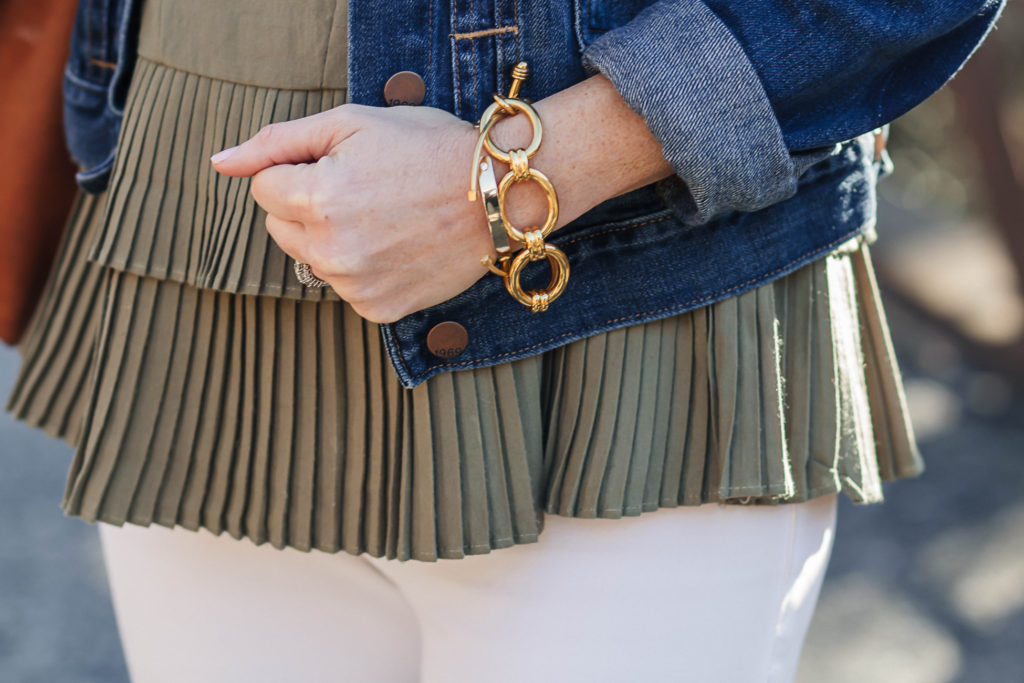 Cute peplum top for spring via Peaches In A Pod blog.