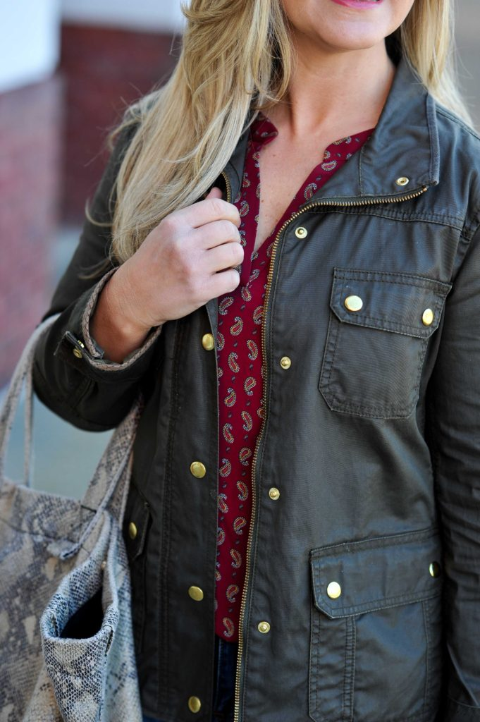 Cute layering outfit with a red paisley top and a olive green jacket.