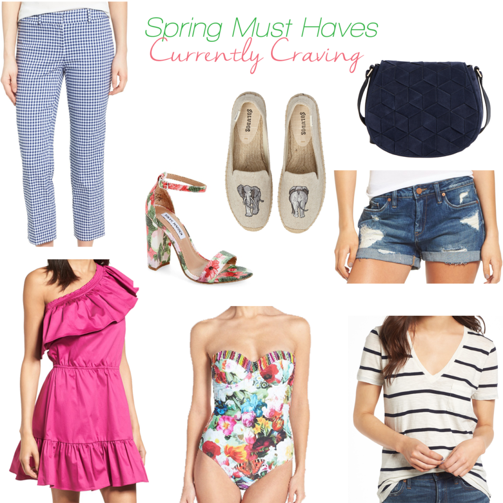Cute Spring Must have items including a cute pink one shoulder dress and a great floral bathing suit.