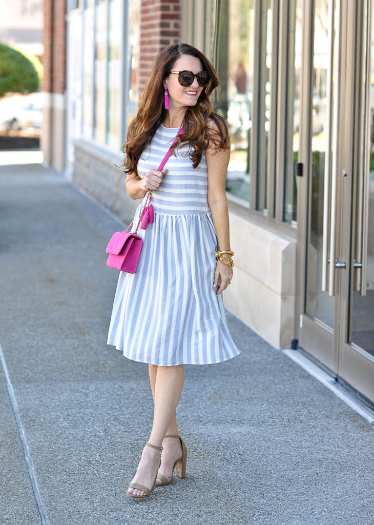 Striped sundress for spring via Peaches In A Pod blog.