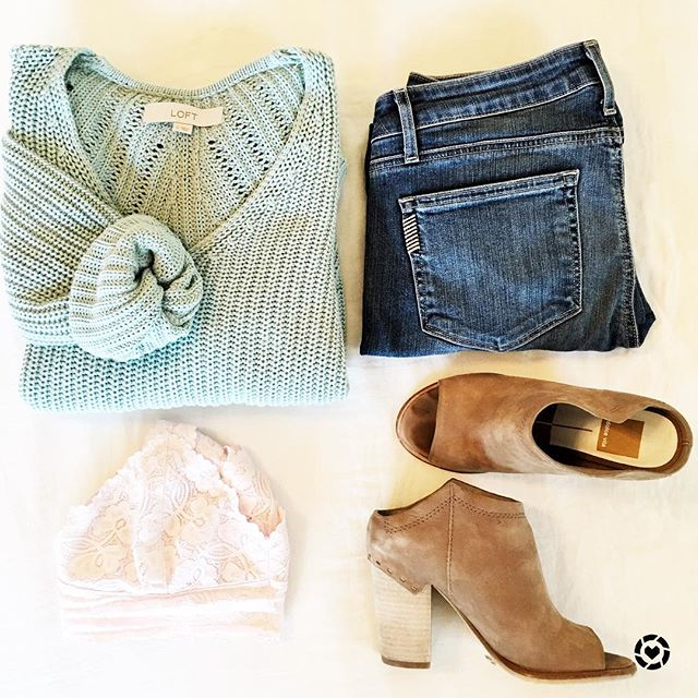 Cute spring outfit with a mint green sweater and open toe booties.