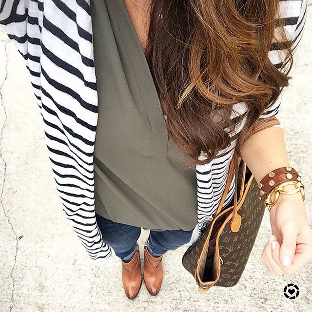 Cute striped sweater with booties outfit that is perfect for the Springtime.