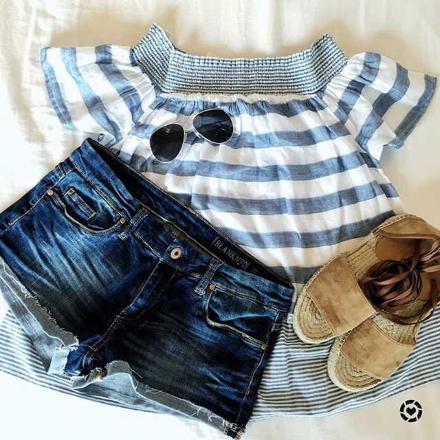 Cute off the shoulder top with denim shorts, perfect for Spring in the South.