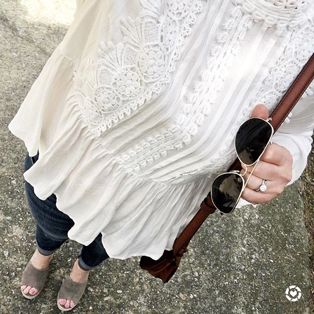 How to wear a peplum lace top with platform wedges in the Springtime.
