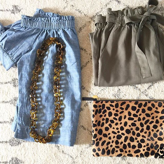 Cute Spring outfit with a denim off the shoulder top and a leopard clutch