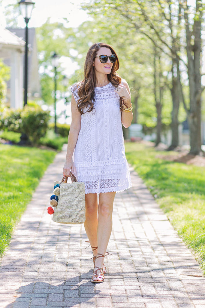 The perfect summer dress via Peaches In A Pod blog. Cute white summer dress, and sandals for the win!