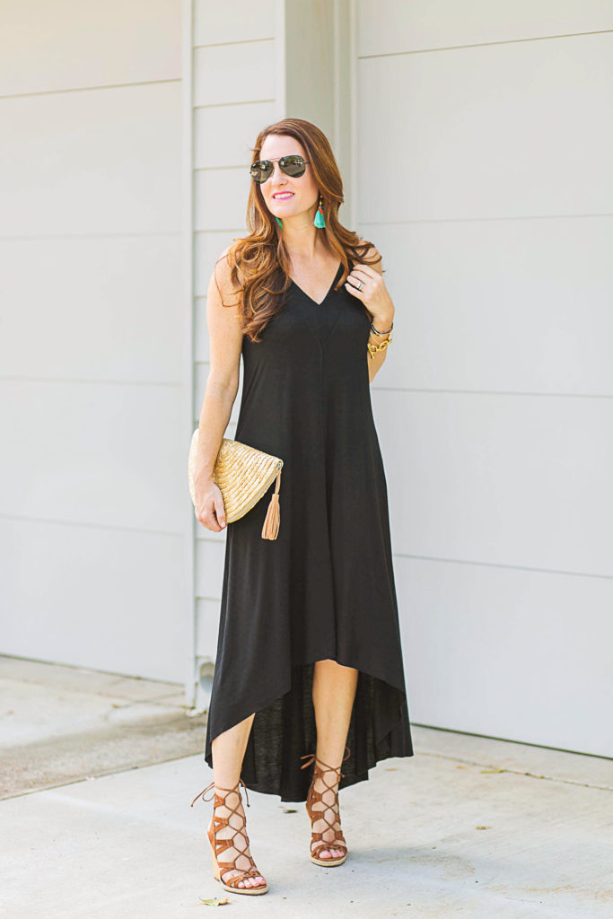 How to style a black maxi dress for summer via Peaches In A Pod blog.
