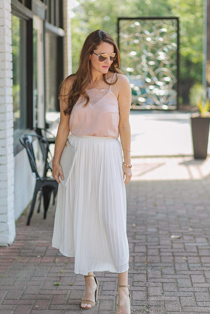 White pleated skirt outfit idea via Peaches In A Pod blog.