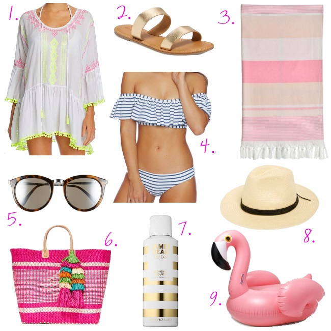 Our vacation must haves including a cute off the shoulder bandeau bikini, beach tote, swim cover up and our favorite new self tanner.