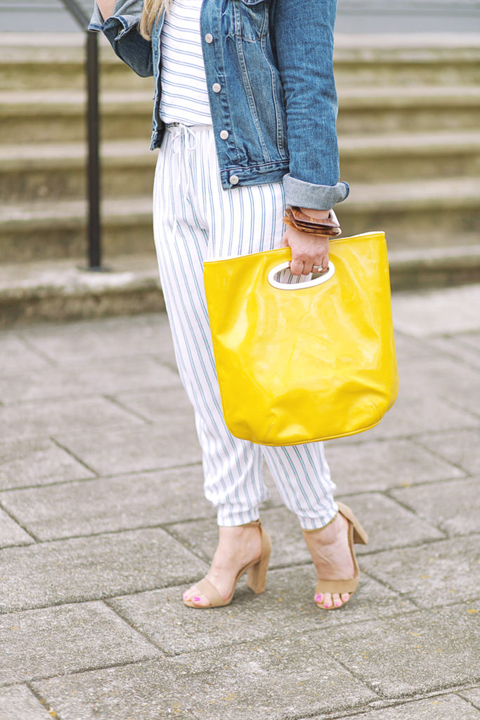Yellow oversized tote that is the perfect pop of color for Summer.