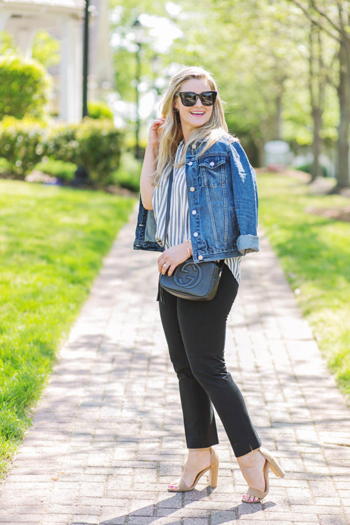 cute black pants outfit with a striped shirt and nude pumps. Cute casual work outfit.