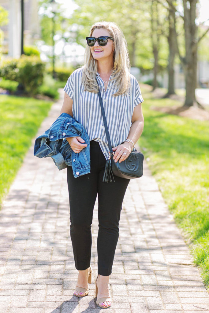 casual work outfit with black pants and a striped top. Perfect for casual Friday's