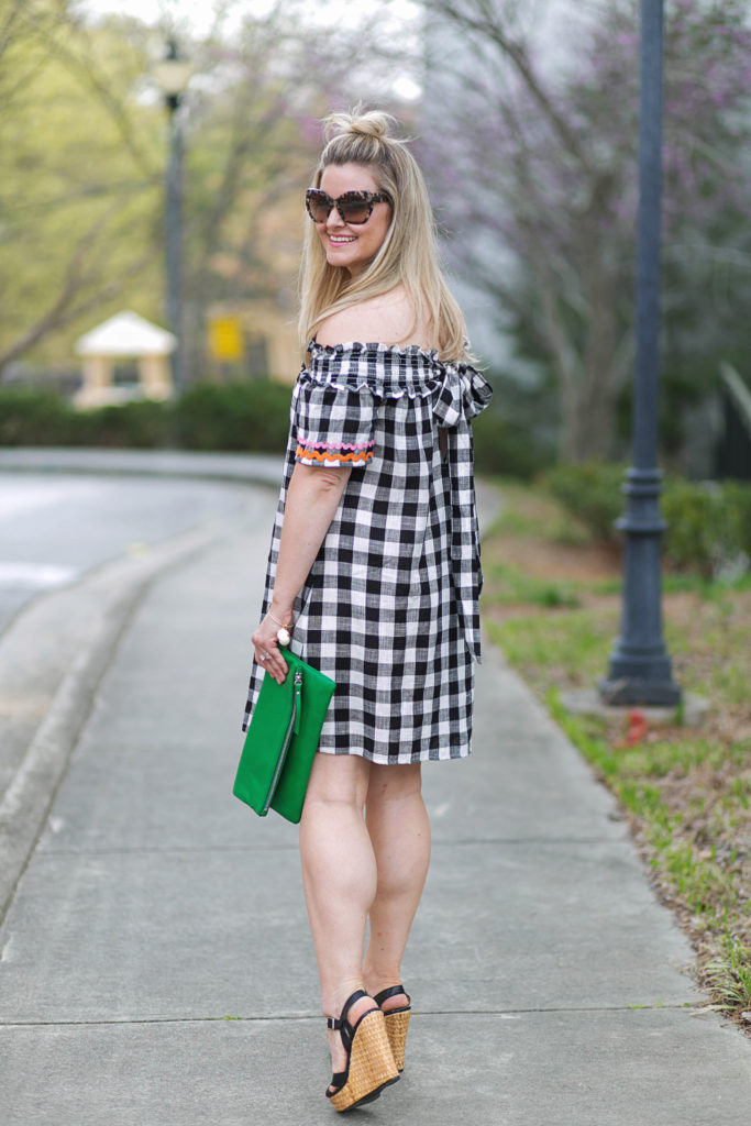 Cute casual off the shoulder gingham dress with adorable grosgrain ribbon detailing.