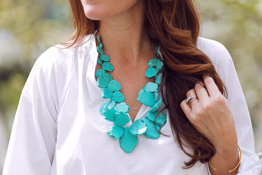 BaubleBar sea glass bib necklace in turquoise via Peaches In A Pod blog.