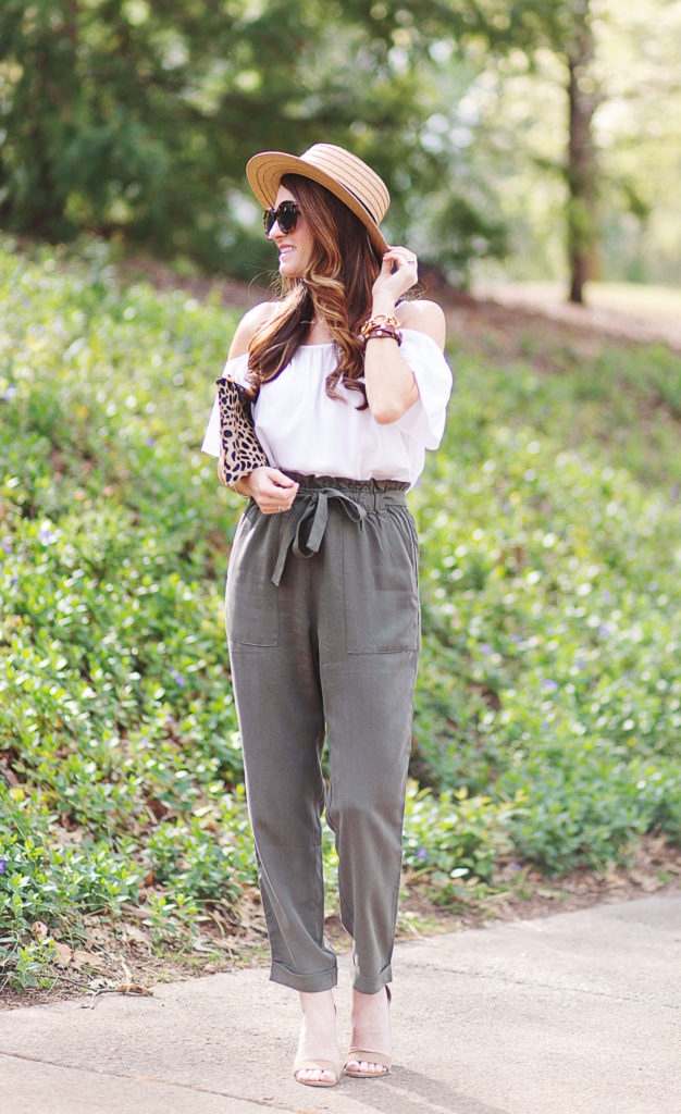 High rise paper bag pants outfit idea for women via Peaches In A Pod blog.
