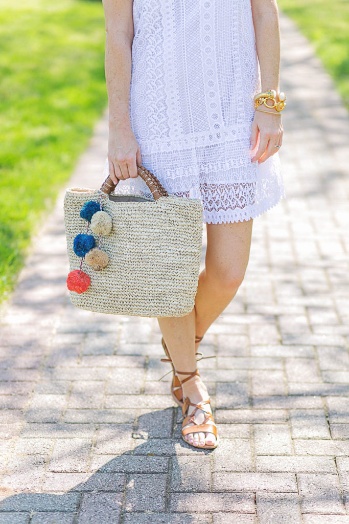 Cute straw tote via Peaches In A Pod blog.