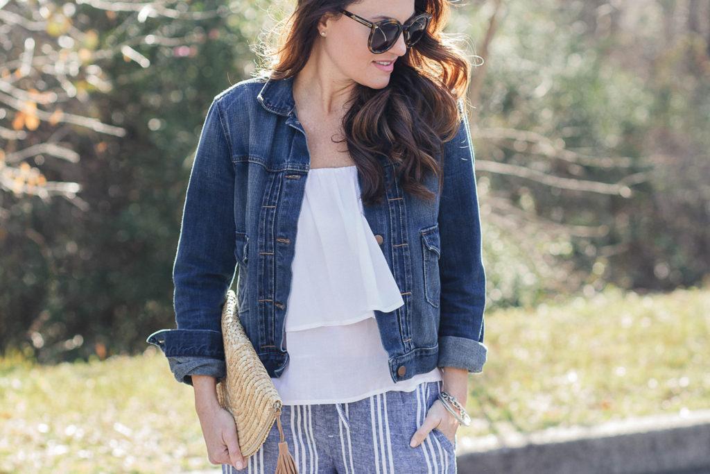 Denim jacket outfit idea via Peaches In A Pod blog.