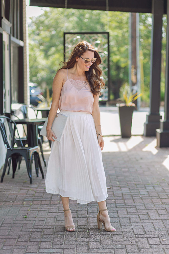 Pleated skirt style via Peaches In A Pod blog.