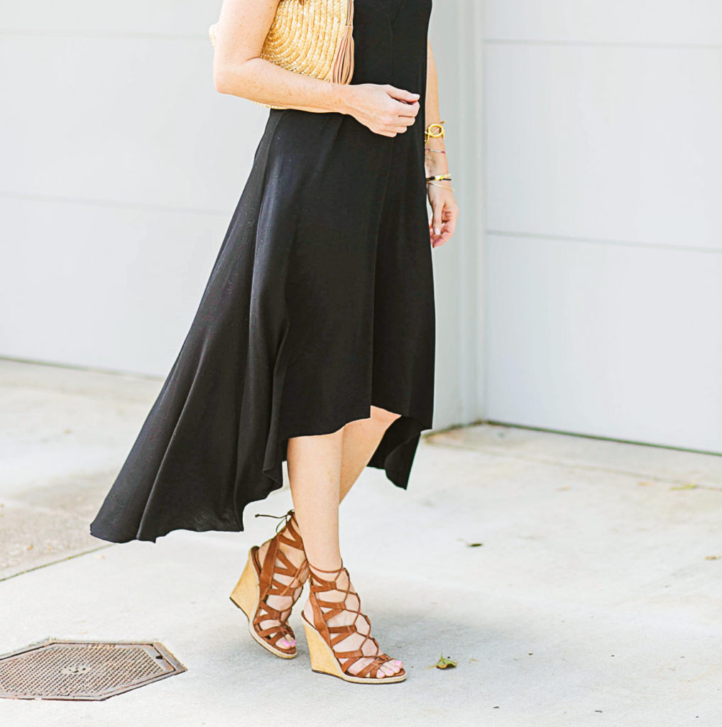 Lace up wedge sandals for women via Peaches In A Pod blog.