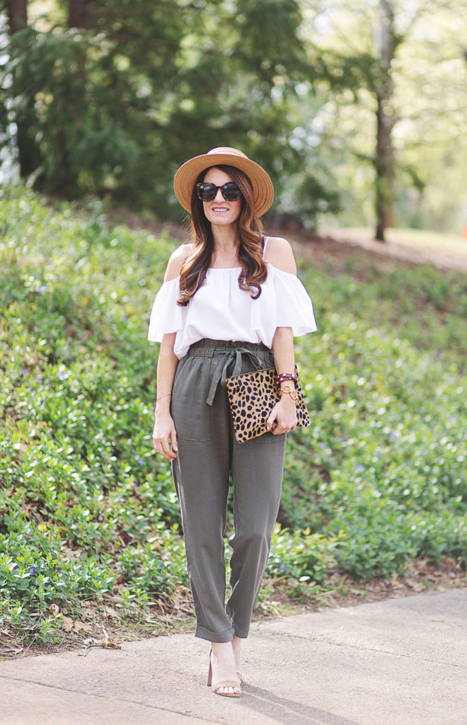 How to wear olive colored pants via Peaches In A Pod blog.