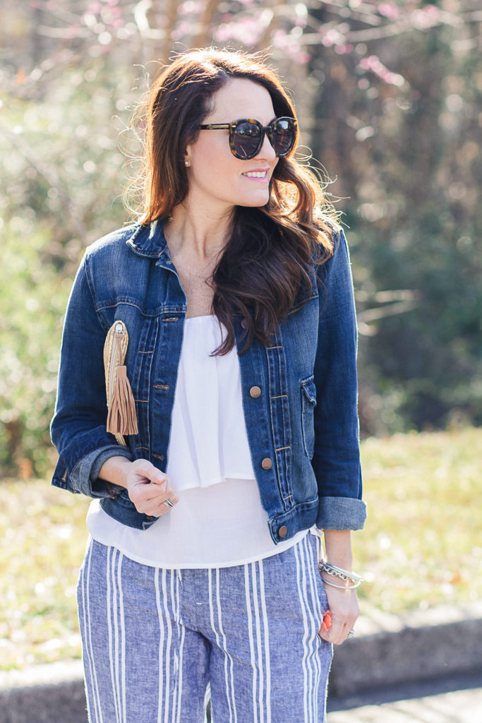 Denim jacket outfit for spring via Peaches In A Pod blog.