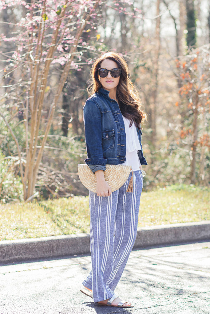 How to wear wide leg pants via Peaches In A Pod blog.