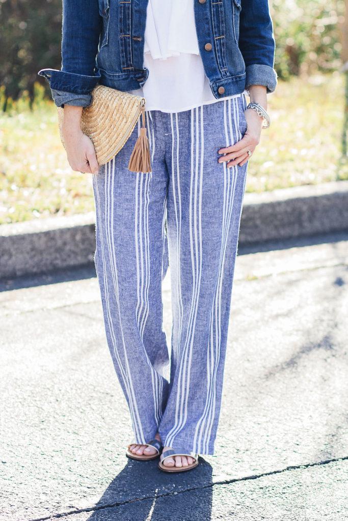 Striped linen wide leg pants via Peaches In A Pod blog.