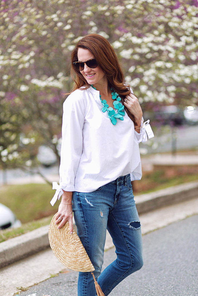 Cute spring accessories via Peaches In A Pod blog. Turquoise necklace and straw clutch.