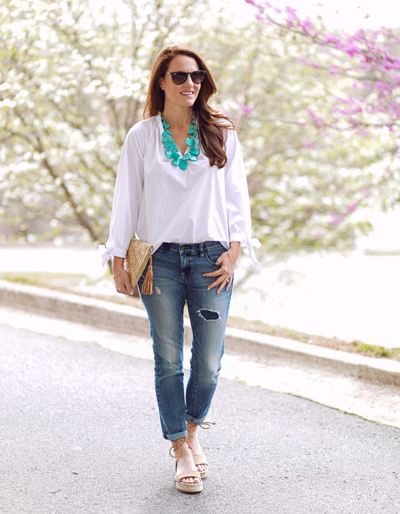 Turquoise necklace outfit idea for spring and summer via Peaches In A Pod blog.