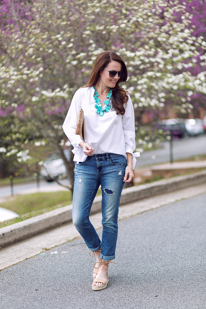 How to style a turquoise necklace via Peaches In A Pod.