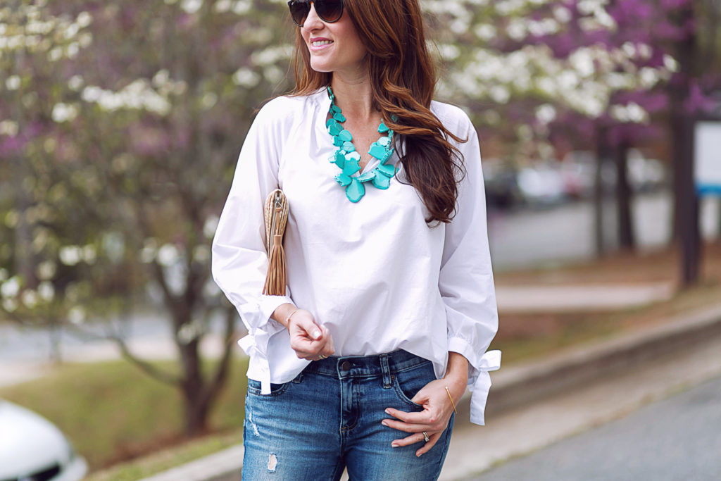 Turquoise statement necklace via Peaches In A Pod blog.