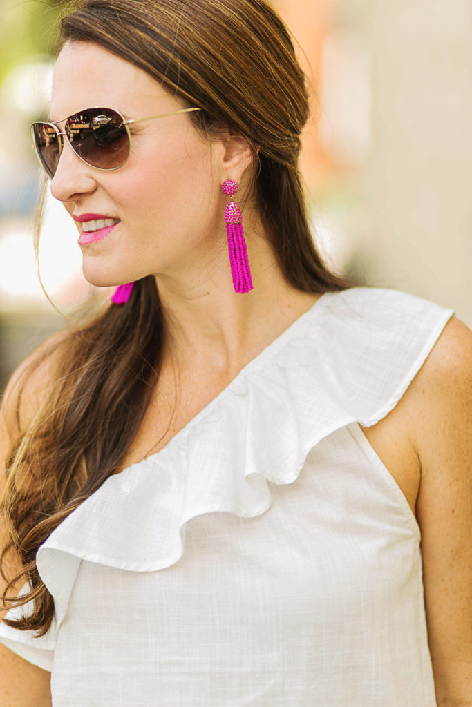 BaubleBar Pinata Tassel Drop Earrings in pink via Peaches In A Pod blog.