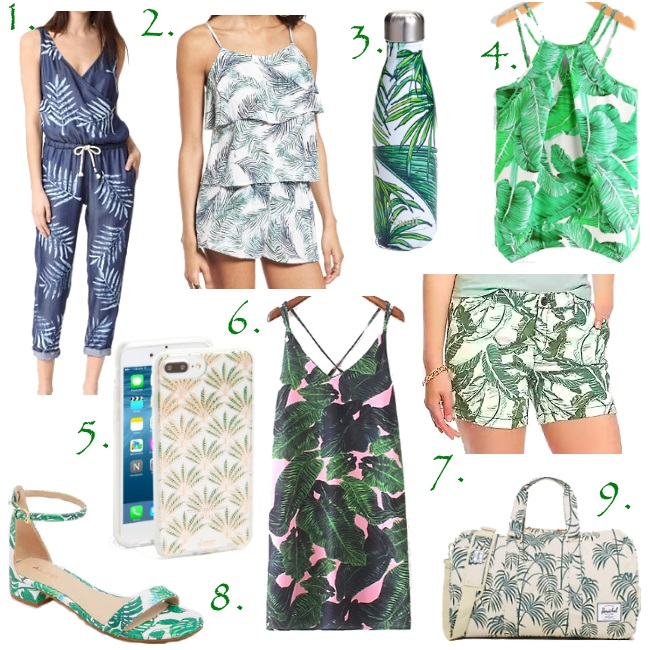 Palm print must haves via Peaches In A Pod blog. The hottest print for the Summer is all about the palm. Stop by the blog and see our favorites.