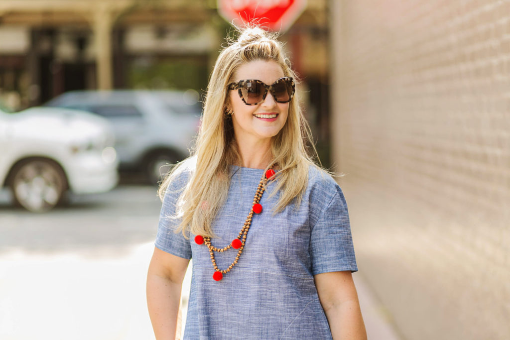 BaubleBar pom pom beaded necklace that is the perfect summer accessory.