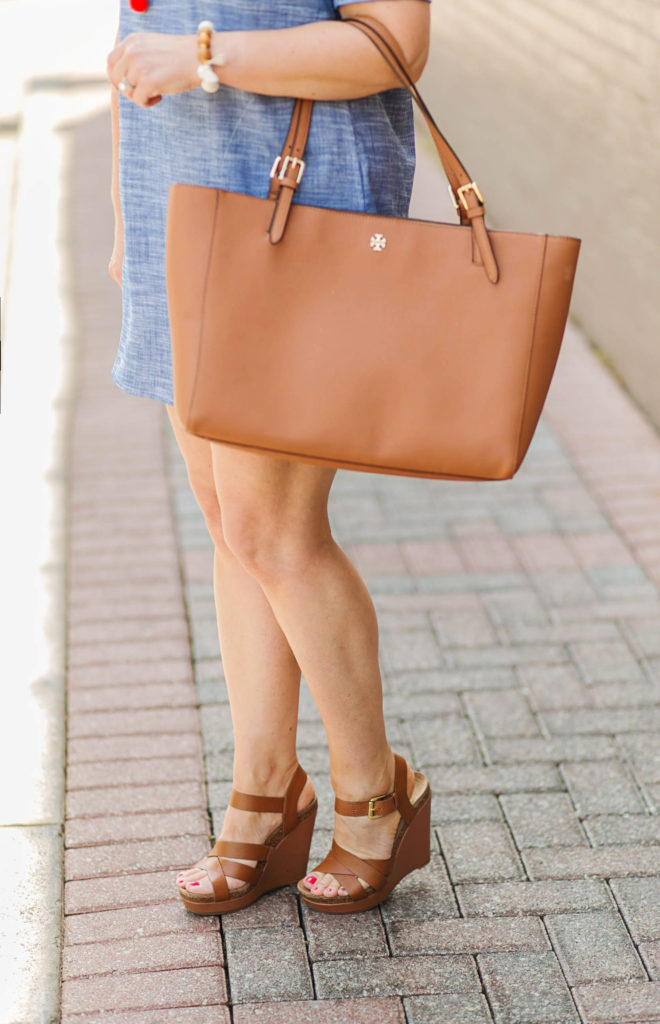 tory burch york buckle tote in brown is the perfect year round tote.