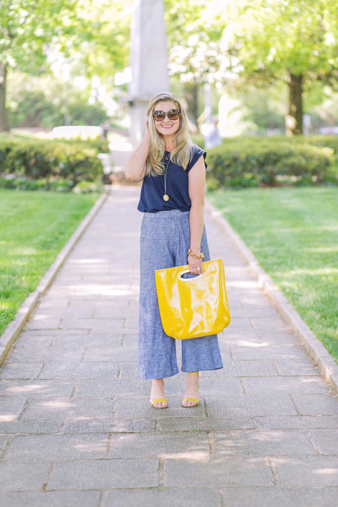 cute summer work outfit with wide legs cropped pants and cute yellow wedges.