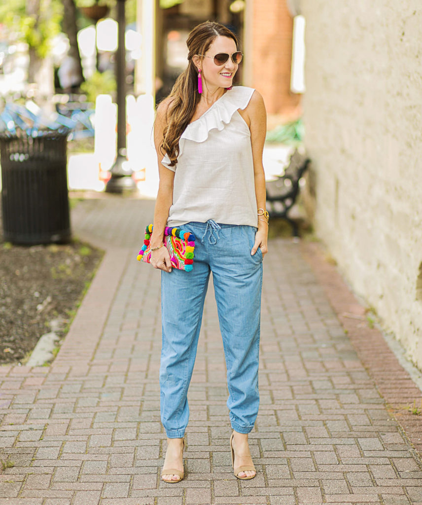 Denim jogger outfit idea for women on Peaches In A Pod blog.