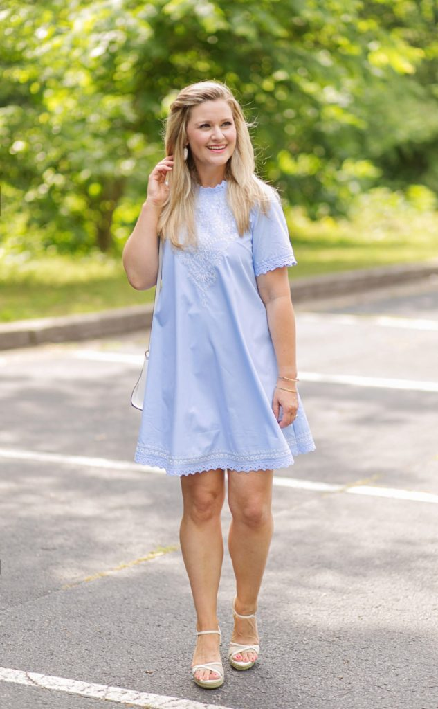 Moon river light blue dress with woven detailing.