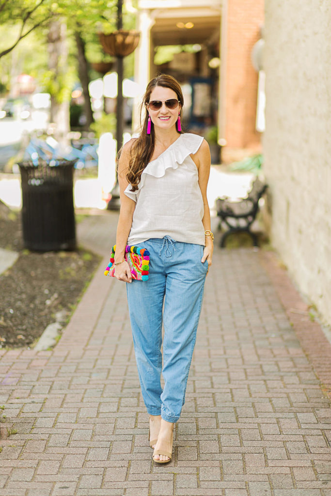 Denim joggers via Peaches In A Pod blog.