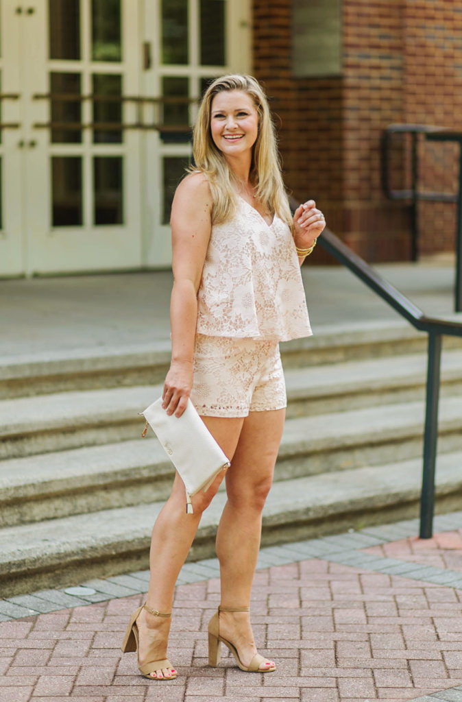 Cute lace romper that is perfect for summer and can be dressed up or worn casually with sandals.