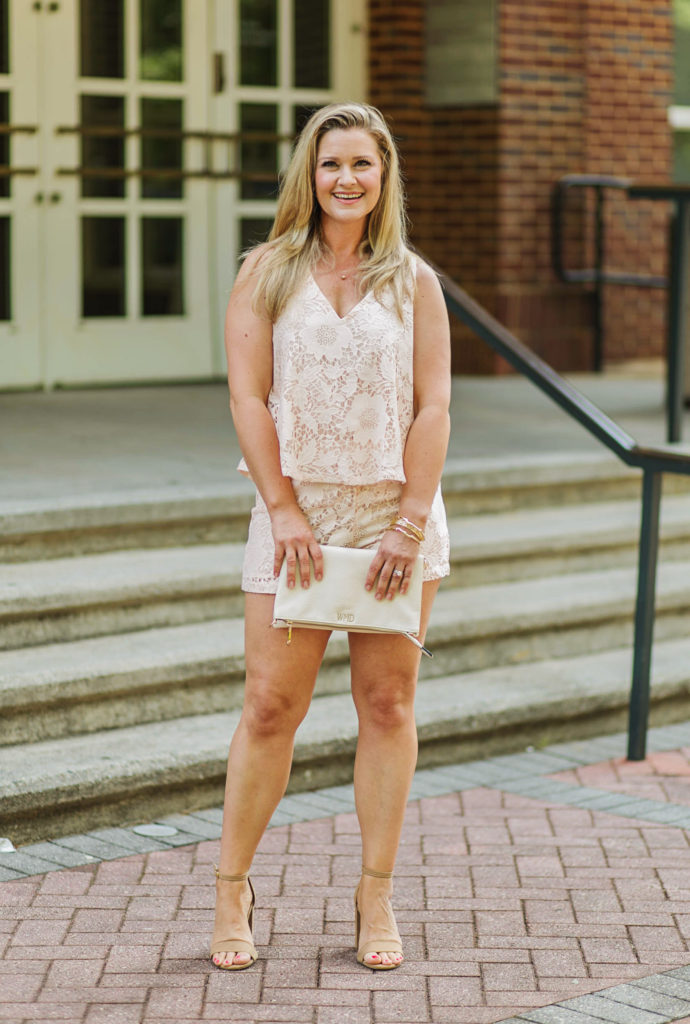 How to style a romper for summer with heels and a cute clutch