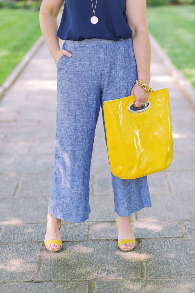 The perfect cropped wide leg pants that are so light weight and perfect for work in the summer.