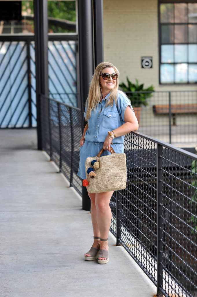 The perfect denim romper for summer paired with a straw bag and platform wedges.