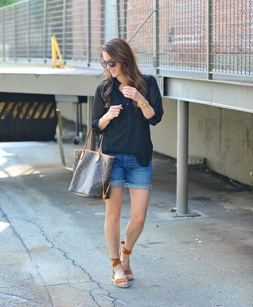 Denim shorts outfit idea via Peaches In A Pod blog.