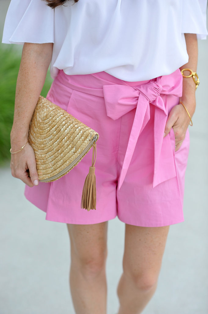 Pink tie waist shorts for women via Peaches In A Pod blog.