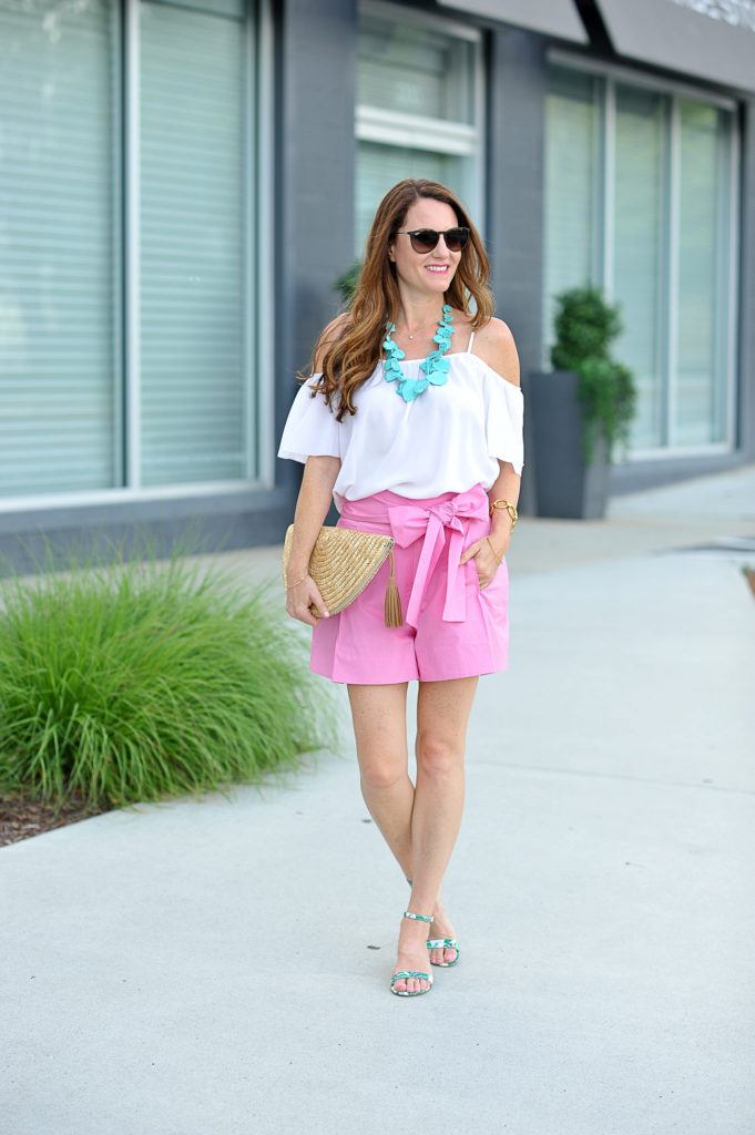Pink shorts outfit idea via Peaches In A Pod blog.  J. Crew tie waist shorts.