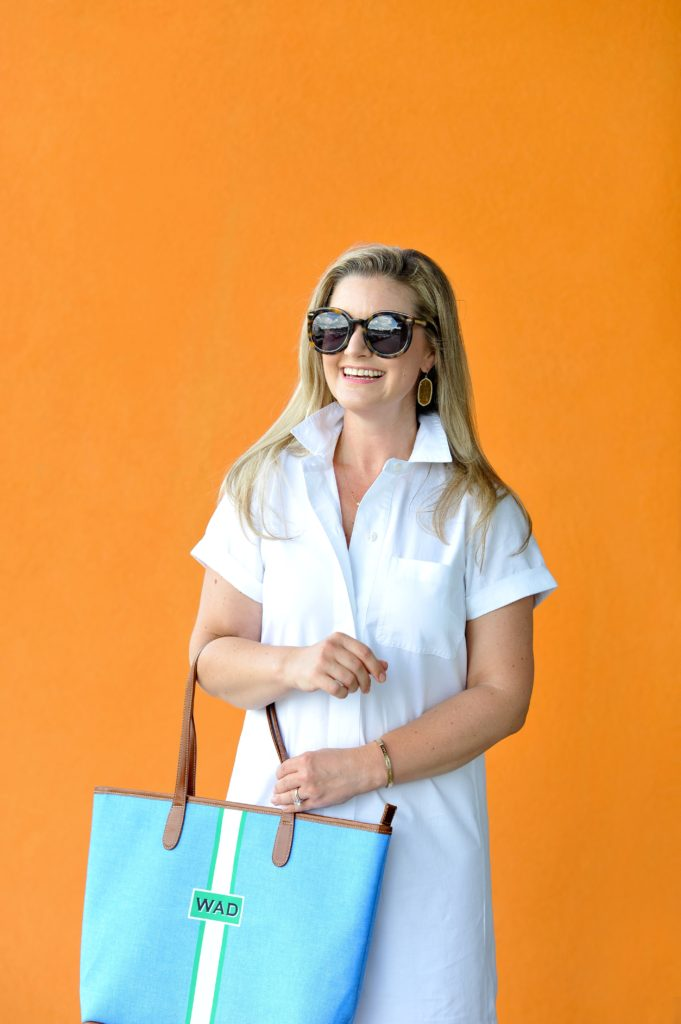 How to style a cute preppy shirtdress for summer.