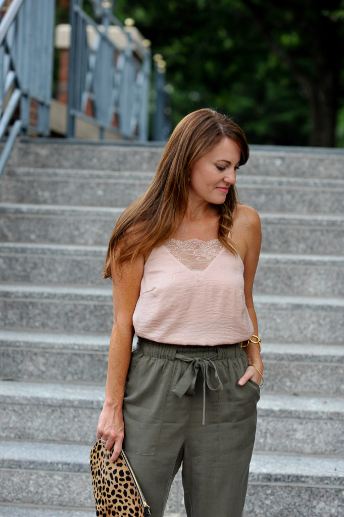 How to style a pink camisole via Peaches In A Pod blog.