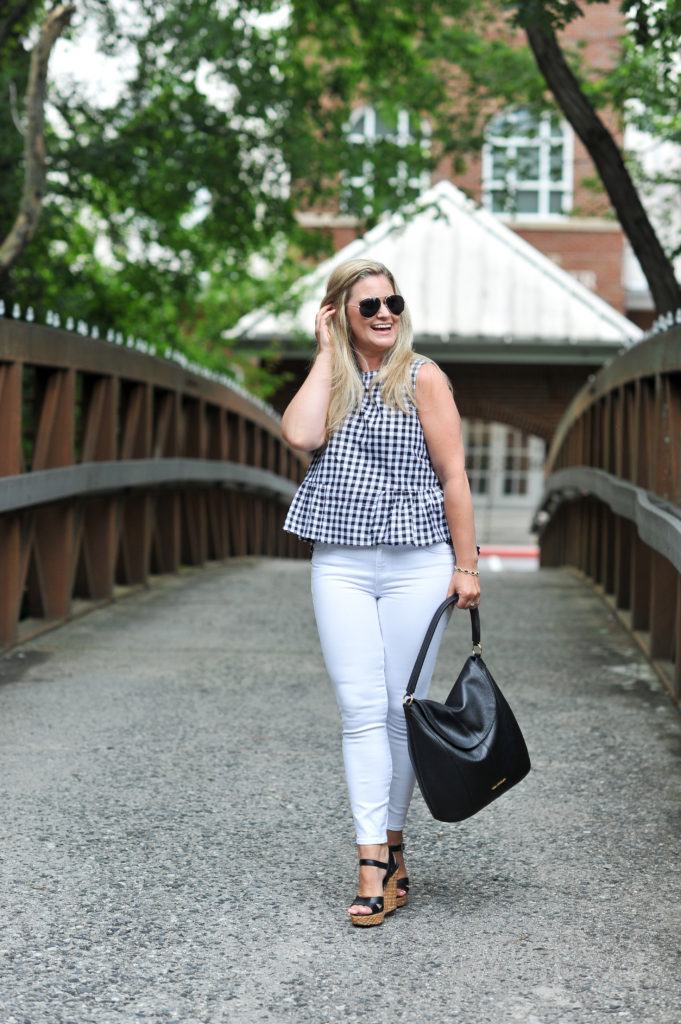 How to create the perfect summer look with white jeans and a gingham top.